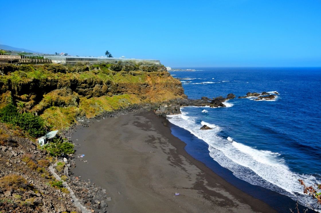A view of volcanic Bollullo Beach in Tenerife, Canary Islands, Spain