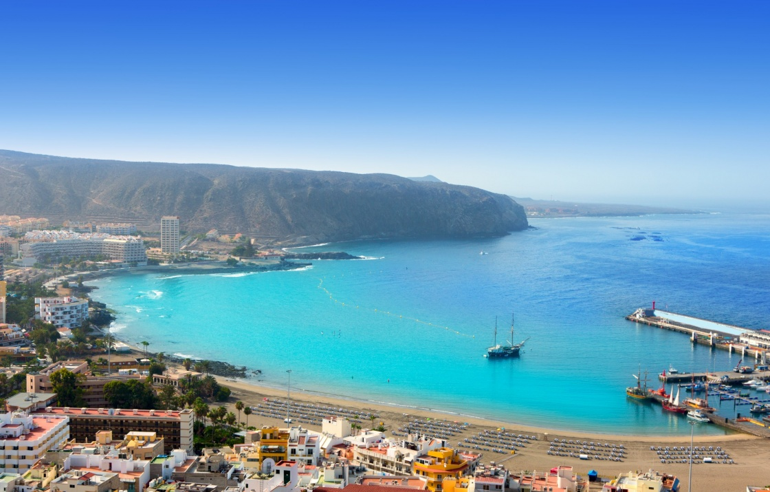 'Aerial view of Los Cristianos beach in Arona Tenerife Canary Islands' - Tenerife