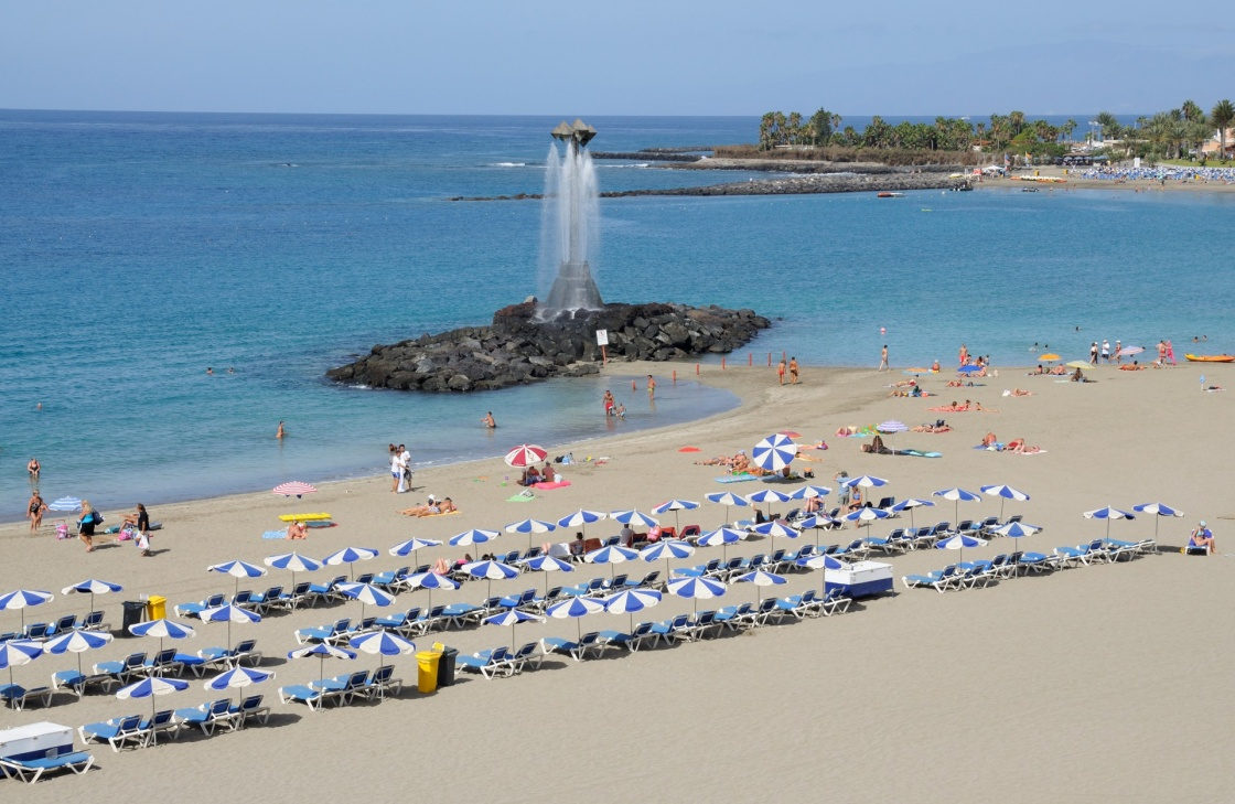 Playa de Las Vistas beach in Los Cristianos, Canary Island Tenerife, Spain